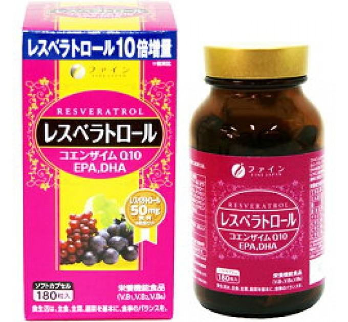 БАД  Ресвератрол, содержащий EPA и DHA кислоты, Коэнзим Q10 и Витамины для замедления старения организма