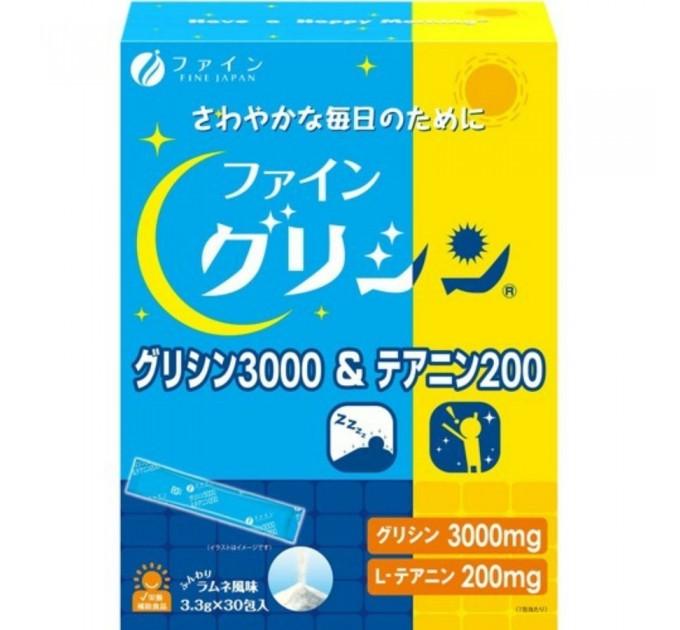 Fine Japan Глицин и теанин от стресса для сна, 30 стиков, FINE