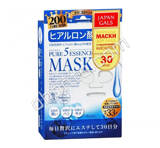 Маска Japan Gals с гиалуроновой кислотой Pure 5 Essential глубоко увлажняет, возвращает упругость, омолаживает и выравнивает текстуру кожи