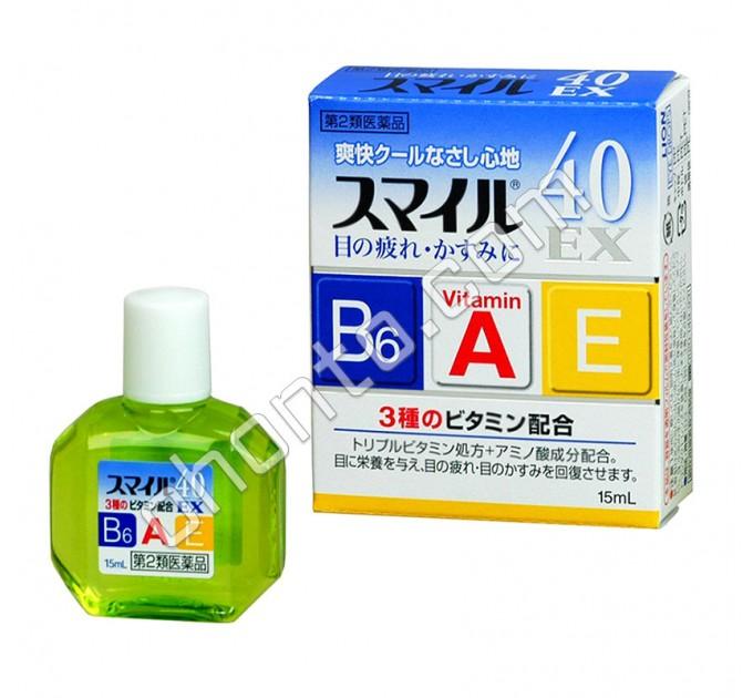 """LION Smile 40 EX Cool Глазные капли с формулой """"тройной витамин"""", сильный освежающий эффект"""
