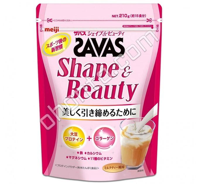 Meiji Savas Shape & Beauty Протеиновый комплекс для красоты и стройности, вкус чая с молоком 15 порций