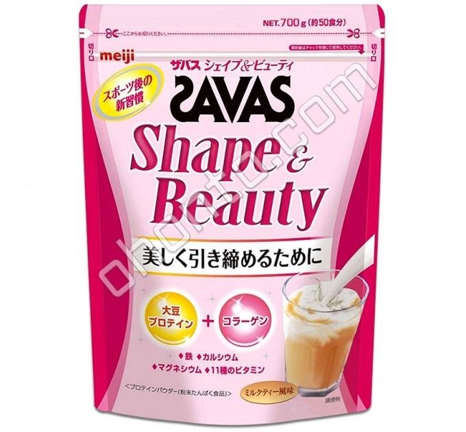 Meiji Savas Shape & Beauty Протеиновый комплекс для красоты и стройности, вкус чая с молоком, 50 порций