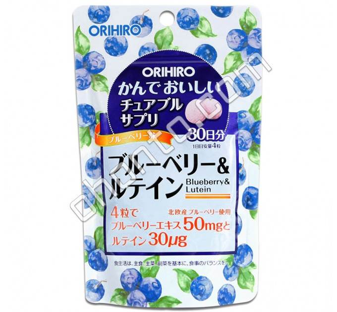 Orihiro Жевательный препарат Черника с Лютеином для укрепления и восстановления зрения, на 30 дней