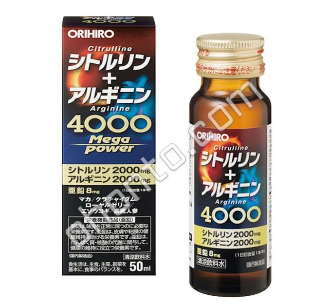 Orihiro Mega Power 4000 Цитруллин + Агринин для выносливости, мышечного роста и половой силы