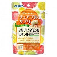 Orihiro Жевательные мультивитамины и минералы со вкусом грейпфрута 120 шт Orihiro