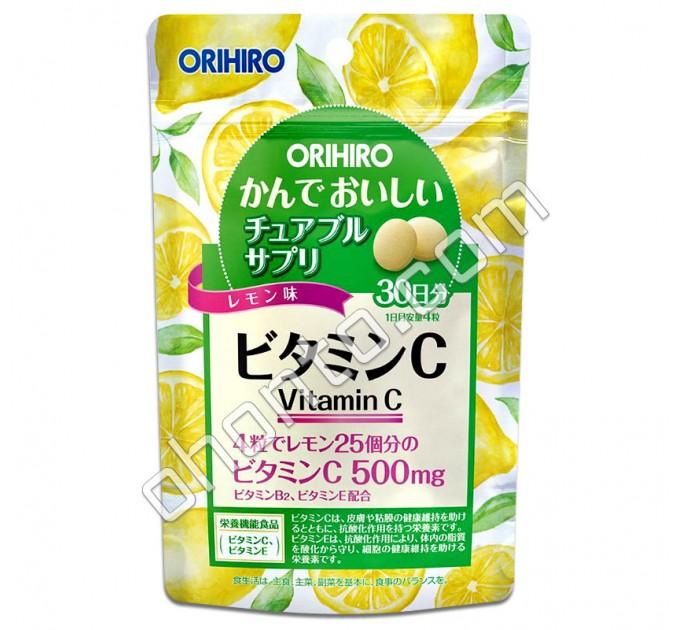 Orihiro жевательный Витамин С для укрепления иммунной системы, со вкусом лимона, на 30 дней