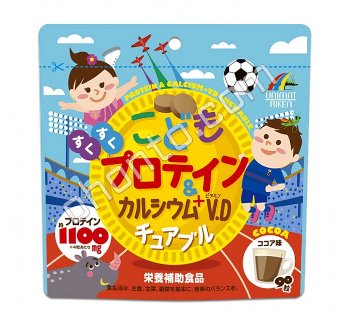 Unimat Riken Молочный белок, витамин D, кальций со вкусом какао в виде жевательных конфет для детей
